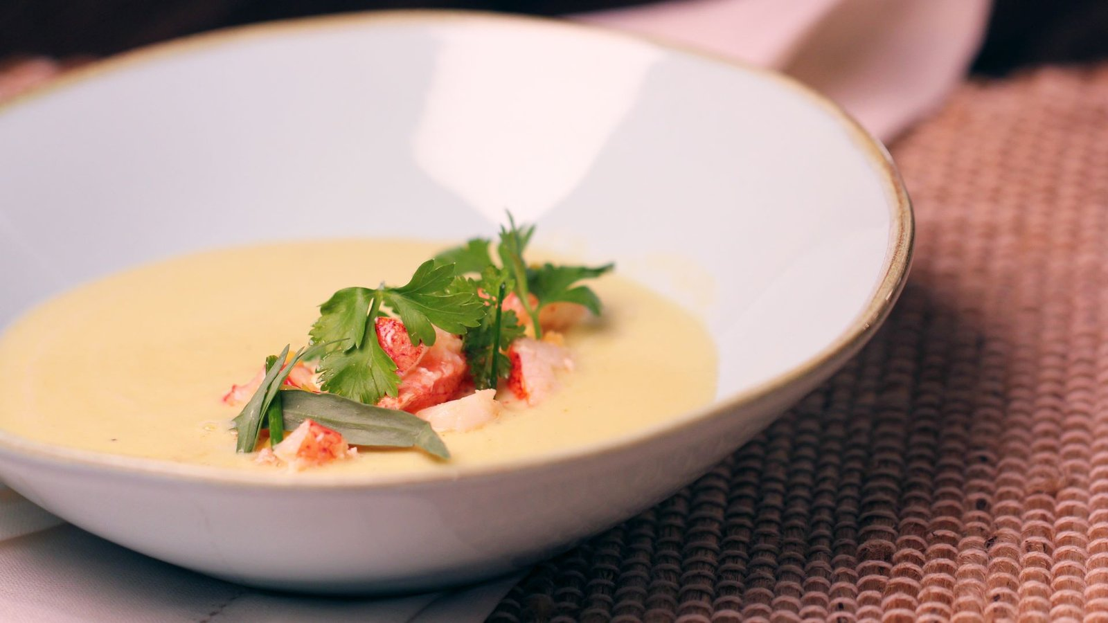 An Elegant Corn Soup with Lobster
