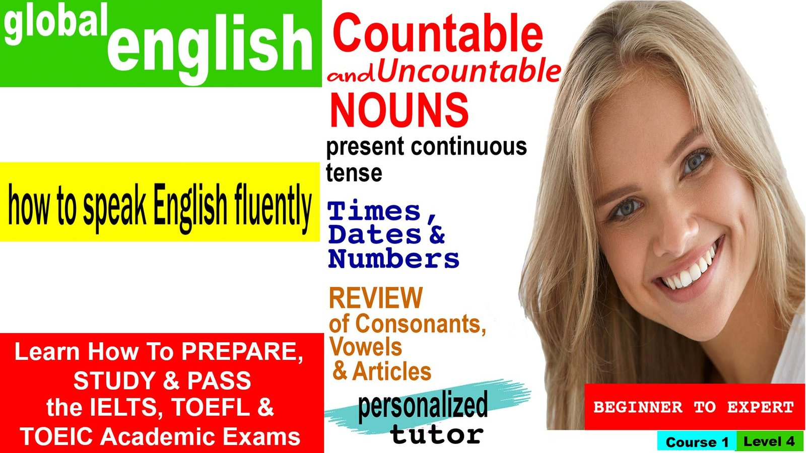 Global English Course 1 Lesson 4: Learn English as a Second Language - Countable and Uncountable Nouns, Present Continuous Tense,Times, Dates & Numbers, Review of Consonants and Vowels, Review of Articles